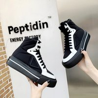 2021 P TOP Designers Men Women Platform Canvas Shoes Man Woman Casual Shoe Couple High Low Sneakers Leather Joint Fashion Neutral Dashing Fat Big size 35-46 With box