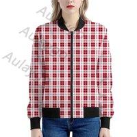 Aulaygo المرأة منقوشة سترة حمراء بيضاء تحقق لون معطف طويل الأكمام المحاصيل الإناث سستة سيدة قصيرة سترة واقية سترة