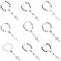 Colors 8mm Crystal Glass Beads Catholic Short Rosary Bracelets Cross Pendant Women Beaded Bracelet Religious Jewelry Gift Beaded, Strands