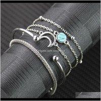 Outras pulseiras entrega de jóias entrega 2021 Estilo Vento embutido Turquesa Simples Personalizado Moon Bead Cadeia Pulseira de 5 peças BN-70 VNUJR