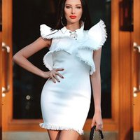 Kadın Elbiseler Lotus Yaprak Sleeve Püskül Elbise Yaka İlkbahar Yaz Katı Renk Siyah Beyaz Zarif Kısa Kollu Retro Moda Mizadim