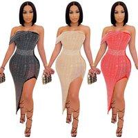 Womens Bling Bing Party платья сексуальные без бретелек, как горный хрусталь асимметричный корпус платье лето мода элегантные женщины вечерняя ночь клуб одежды