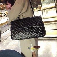مصمم-للنساء سعة كبيرة حقيبة يد محفظة أسود مبطن الكتف حقيبة crossbody سلسلة رفرف السفر حقيبة