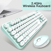 Wireless Keyboard And Mouse Combo Silent 2.4GHz USB Receiver Cute 104 Keys Full-Sized For PC Computer Laptop Keyboards