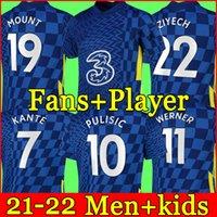 CFC Soccer Jersey Ziyech Pulisic Mount Kante Havitz Werner Abraham Chilwell Giroud HUDSON-ODOI 2021 2022 Футбольная футболка 22 22 Мужчины + Kids Kit Set Носки Униформа