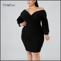 Casual Dresses Autumn Elegant Plus Size Women Long-sleeve Dress Black Tight Elastic Sexy Mini Fashion Club Party Designer Spring Custom