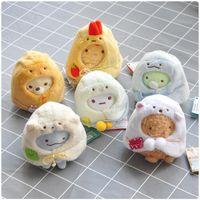 6 unids / lote 10 cm San-x Muñeca de juguete de peluche Sumikko Gurashi Pequeño colgante Mochila colgantes Llavero de regalo dulce