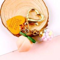 Rosa niña corazón estéreo melocotón coche llavero siete pelota colorido creativo encantador llavero anillo bolso accesorios llavero