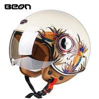 Style Beon Lens Lens Helmets 3/4 مفتوح الوجه الرجعية دراجة نارية كهربائية فور سيزونز خوذة ركوب كاسكو موتو capacete دراجة نارية
