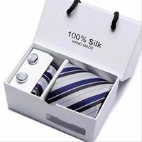 Подарочная коробка 5 набор мужской полосовой галстуки 7,5 см широкий формальный бизнес галстук свадебное платье платье платья