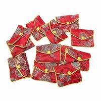 Ювелирные мешки, сумки 12 в 1 маленькая коробка Красная сумка Вышитая шелковая ткань для монет кошелек