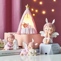 Cute Room Decor Figurines Interior Kawaii Room Decor Angel Statuette Baby Room Accessories Girl Fairy Garden Decorative Figures Q0525
