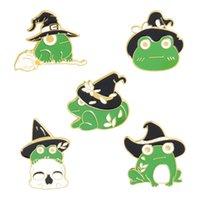 Зеленая эмаль лягушка с шляпа броши булавки милые животные брошь отворотный булавку значок для женщин детские мода ювелирные изделия будут и Sandy 1809 Q2