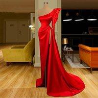 2021 Vermelho cetim sereia vestidos de noite um ombro sexy front split plus size formal vestidos de festa de baile robe de soiree