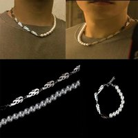 Chokers Gothic Vintage Punk Metal Flame Pearl Chains Choker Necklaces For Men Boyfriend Gift Fashion Party Jewelry 2021 Night Club