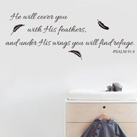 Wallpapers Wall Art Inspirational Quotes And Saying Home Decor Decal Sticker Quote Psalm 91:4 Bible Verse Will Cover You With His