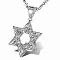 Collares colgantes Potcet neutro acero inoxidable estrella de seis puntas de David Titanium collar de moda Hip Hop Jewelry