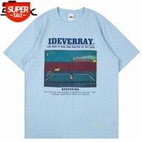 2021 Männer Hip Hop Streetwear T-shirt Schwimmbad Hund Brief Drucken T-Shirt Harajuku Baumwolle Sommer Kurzarm Tshirt Weiß # TN6C