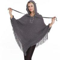 Scarves Women Winter Knit Hooded Poncho Cape Crochet Fringed Tassel Shawl Wrap Sweater Bohemian Scarf