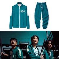 Squid Game Gym Clothing Men's Tracksuits Li Zhengjae Same Jacket 456 218 067 001 Autumn Casual Polyester Stand-up Collar Sweatshirt Suit Plus Size 2XS-4XL H1011 good