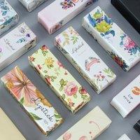 50pcs / boîte-cadeau 2.5 * 2.5 * 8.5cm doré noir multicolore papier de carte de bricolage exquis de parfum de perfumier lèvre lèvre gloss couleur carton