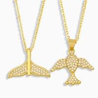 Anhänger Halsketten FLOLA GOLD GOLD GEWALM MEAND HAIL Halskette für Frauen CZ Pave Strass Fisch Großhandel Schmuck Geschenke NKEV24