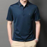 ذات نوعية جيدة جدا الحرير الرجال قميص عارضة العلامة التجارية الصلبة اللون عظيم المواد قصيرة الأكمام الملابس الصيف YT1AK03 الرجال بولو