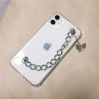 Sevimli Kelebek Zincir Güz Kanıtı Telefon Kılıfları için iphone 12 11 Pro Max XS XR SE 7 8 Artı Moda Şeffaf Yumuşak Kapak