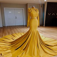 2022 Solid Evening Dress Mermaid Long Train Big Bowtie Prom Gowns Women Formal Wear Elegant Vestido De Novia