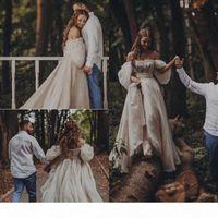 الأميرة القوطية البوهيمي فستان الزفاف مثير قبالة الكتف النفخة كم منتفخ أثواب الزفاف قطار طويل ريفي البلد أثواب الزفاف الهبي 2015