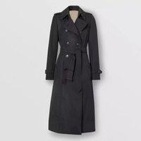 Женская траншея Пальто Длинная Классическая ветровка Водонепроницаемый Британский Высокий Английский Стиль Осень Зима Габадиан Сплошной Цветовой Размер Пальто F53