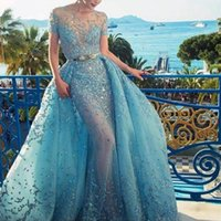 Fascinating Light-Blue Evening Dress With Overskirt Crystal Lace Applique Jewel Neck Short Sleeve Evening Gown Sexy See Through P