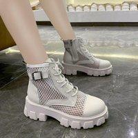 Rimocy classique femmes épais bottes d'été bottes de maille noire rond bout à bout de fermeture à glissière plateforme chaussures femme talons hauts chevilles botas