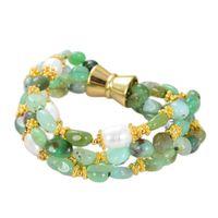 Guaiguai Jewelry 4 Strands Green Chrysopraste Cultured Blanco Rice Pearl Pulsera Hecho a mano para las mujeres Real Lady Fashion Jewellry
