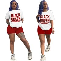 Femmes Tracksuit Short d'été Ensemble Black Queen Letter Designers T-shirt et motard Court Sport Status Two Piece Tenues Homewear Pyjamas Vêtements G57CPYF