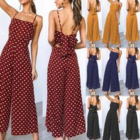 Holiday Long Pants With Straps Women Wide Leg Jumpsuits Open Back Knot Polka Dot Jumpsuit Sexy Bandage Elegant Party Women's & Rompers