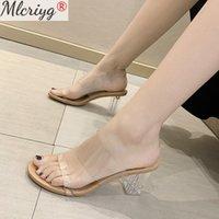 MLCRIYG мода PVC прозрачные женские тапочки летняя обувь сексуальные высокие каблуки золотые женщины наружные вечеринки мулов слайды