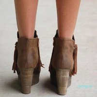 Wholesale-Boots Ankle Women Autumn Winter Tassel Wedges High Heels Booties Ladies Gladiator Platform Round Toe Female Shoes Zapatos Mujer