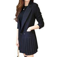 المرأة الدعاوى الحلل اللباس الأعمال للنساء مكتب سترة طويلة سترة سوداء مزدوجة الصدر مطوي ol رداء البدلة زائد الحجم F345