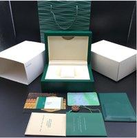 Top Qualität dunkelgrüne Uhrenbox Geschenk Woody Case für Uhren Broschüre Karten Tags und Papiere in englischer Schweizer Taktschachteln Kostenloses Schiff