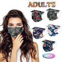 50 unids Máscara de FCAE desechable para las mujeres Respirador de polvo Máscara de tres capas Impresión protectora Protectora a prueba de polvo Halloween Cosplay Mascarillas H0910