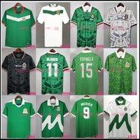 Retro 1998 México Cup World Blanco Vintage Vintage Jerseys Hernandez Home Green Walkekeeper 86 94 95 06 H.Sanchez Borgetti Camisas de futebol clássico