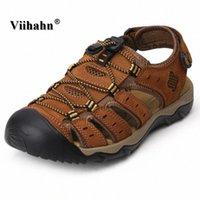 Мужчины Сандалии Летняя Мужская Натуральная Кожаная Обувь Прохладный Нескользящий Мягкий Резина Собственные Пляжные Тапочки Повседневная Обувь Человек Плюс Размер 38 46 Обувь Для Женщин Обнаженная Клина L5BL #