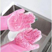 Cycling Gloves 2021 Magic Silicone Dishwashing Scrubber Dish Washing Sponge Rubber Scrub Kitchen Cleaning 1 Pair