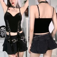 Women's Tanks & Camis Goth Bandage T-shirt Women Bodycon Lace Black T-shirts Street Sexy Deep V Backless Corset Female Top Casual Mesh Tee