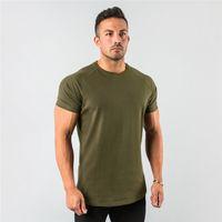 Nuova elegante top plain top fitness mens t manica corta muscolare joggers bodybuilding tshirt maschio palestra vestiti slim fit tee shirt