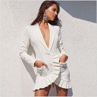 Unterscheidungsstil Top Qualität Original Design Frauen Casual Dress Tief V Schal Kragen Dame Elegante gefristete Kanten Abendkleider