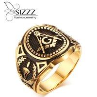 Wedding Rings SIZZZ Men's Vintage Masonic Ring Freemason Symbol Member Gold Stainless Steel Punk Mason Jewelry Band
