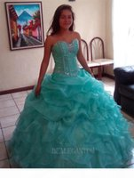 2017 New In Stock Sexy Mint Blue and Pink Quinceanera Dresses Ball Gown With Beaded Ruffle Sequins Sweet 16 Prom Party Gowns BM77