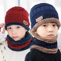 Kapaklar Şapka Polar Kontrast Renkler Örme Sıcak Kış Çocuk Şapka Için + Eşarp Iki Parçalı Set Kız Erkek Boyun Çocuk Eşarp Kap